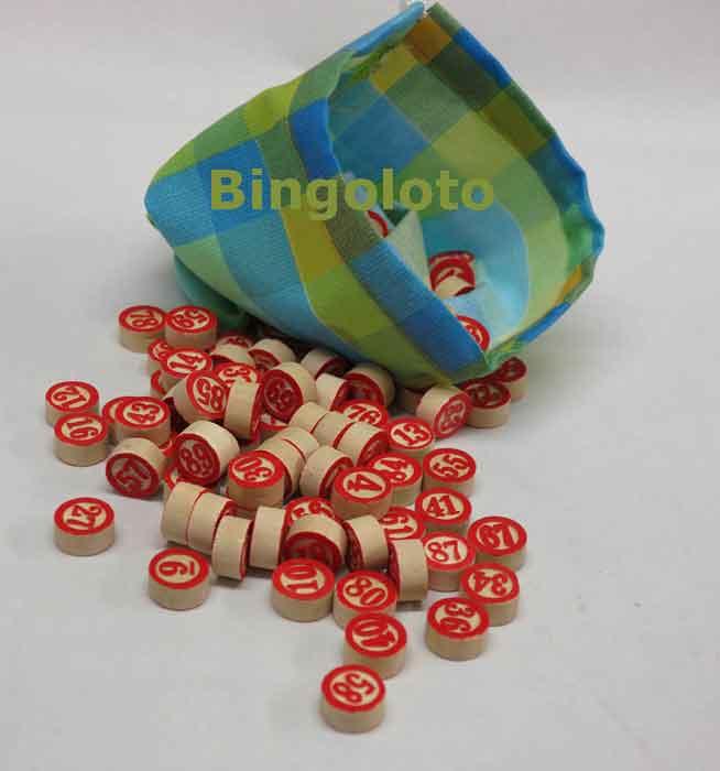 jetons de loto en bois num rot s avec sac de tirage